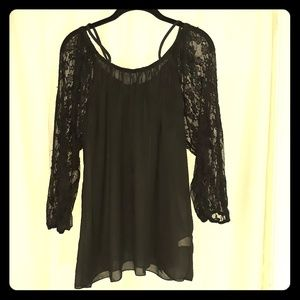 Black Soft Lace Blouse with Tag Like New
